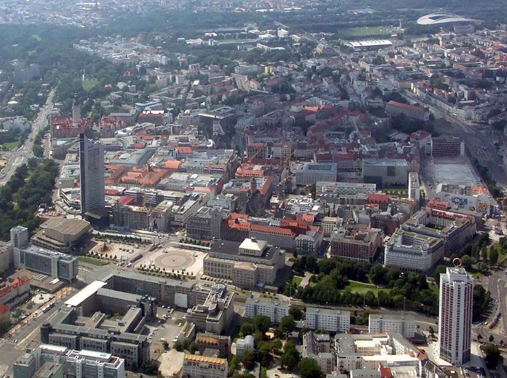 Leipzig. Die Innenstadt von Osten gesehen